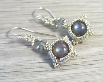 Labradorite Earrings, Artisan Earrings Boho Labradorite Drop Earrings in Handmade Unique Gifts Iridescent Earrings Gemstone Jewelry Sterling