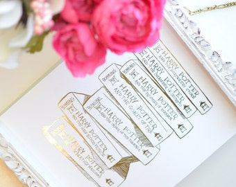 Gold Foil Harry Potter Stack of Books (8x10 or 5x7), Harry Potter Decor, Harry Potter Baby, Harry Potter Gift, Harry Potter Poster