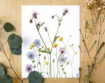 Wildflowers Botanical Giclee Print   Watercolor Botanical Artwork