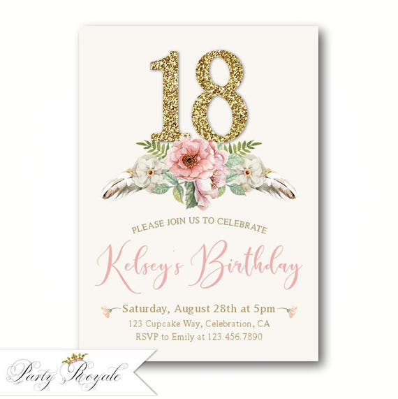 Girls 16th 17th 18th Birthday Invitations Faux Gold Glitter
