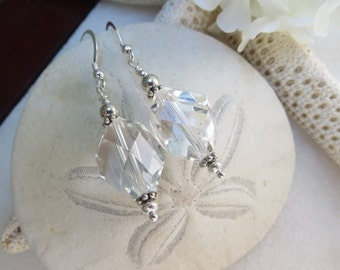 Rock Crystal Quartz Earrings, Faceted Crystal Earrings, Sterling Silver Earrings, Semi Precious Gemstone Earrings, April Birthsonte Earrings