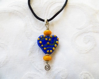 Vintage Art Glass Pendant, Heart on Silk Cord, Cobalt Blue and Orange, Boho Festival Jewelry, Heart Jewelry for Valentine