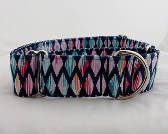Girly Diamonds-Adjustable Buckle-Martingale Dog Collar-Small-Large Breed Dog-1 inch 1.5 -2 inch width-Traffic-Dog Leash-