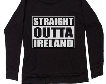 Straight Outta Ireland Slouchy Off Shoulder Oversized Sweatshirt