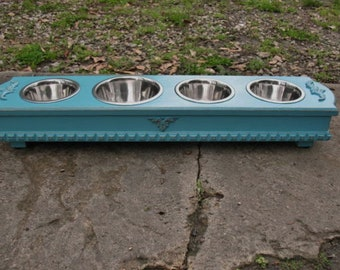 Elevated Dog Bowl Pet Feeder For Cats or Small Dogs, 4 Stainless Bowls, Turquoise, Cottage Chic Made To Order