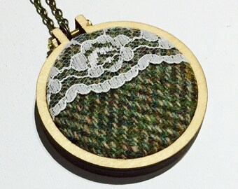 Mini embroidery hoop necklace, harris tweed and lace, gift for friend, quirky necklace, statement necklace, contrast, embroidered necklace