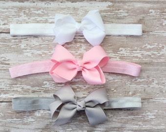 Baby Bow Headband Set - Pink Gray White Baby Headbands, Gift Set, Newborn Headband, Bow Headbands