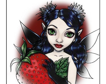 Coloring Book Page / Printable PDF / Strawberry Fairy by Lindsey Cormier