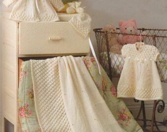 Knitted Baby's Layette/ Dress, Jacket, Bonnet, Bootees, Mittens  and Shawl  /0-6 mon/ Pattern PDF - A108