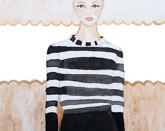 Kate Spade Fashion Illustration//Customize for Bridesmaid Gift!