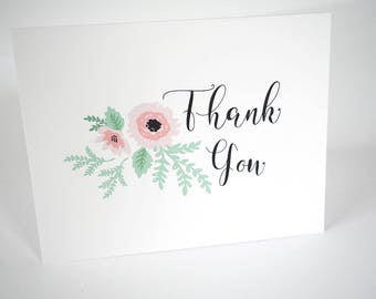SALE! - Thank You Cards - Scripty Floral Collection