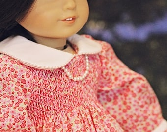 "Doll smocked dress heirloom pattern - Mini Aura Lee - 15"" AND 18"" doll sizes included"