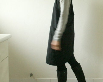 PINAFORE WOOL DRESS / plus size / women / criss cross / black wool dress / smock tunic apron / winter / made in australia pamelatang