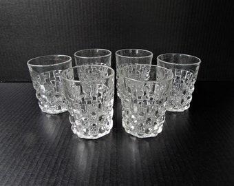 Vintage Rocks Glasses Vintage Barware -Set of 9 Clear Pressed Glass Rocks Glasses - Low Ball Glasses - Whiskey - Craft Cocktail Glasses