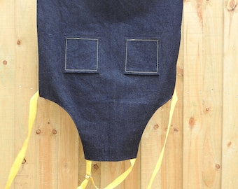 Handmade Denim Work Apron suitable for Male or Female, use in Kitchen or Garden