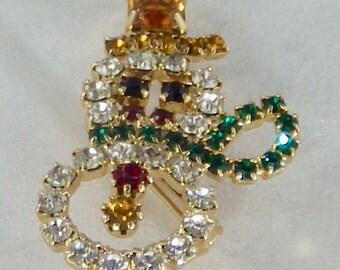 Vintage Rhinestone Snowman Brooch Amber Color Hat Stone