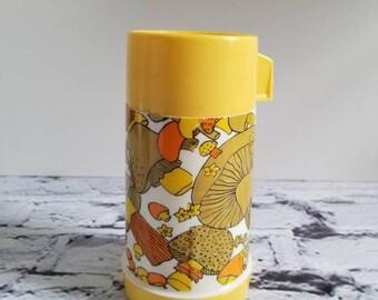 Vintage Yellow Mushroom Thermos- 1960s,1970s, School thermos, retro kitchen
