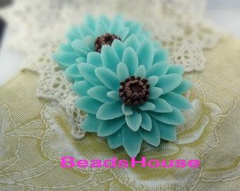 652-00-CA   2pcs Pretty Classic Big Chrysanthemum Cabochons - Blue/Brown