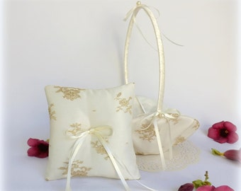 Ivory flower girl basket and wedding ring pillow. Ivory satin and Gold floral lace wedding set decorated with Ivory pearls.