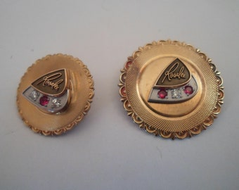 Vintage 2 Mid Century Gold Filled Diamond Ruby Employee Pins Rosalee Women's Fashion Indiana Estate Find Re purpose or wear
