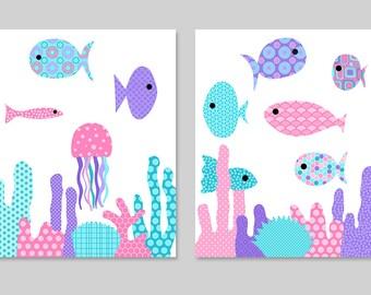 Fish Nursery Art, Ocean Nursery, Nautical Nursery Girls, Girls Room Decor, Pink Purple Nursery, Cute Nursery Art, Fish Canvas, Ocean Decor