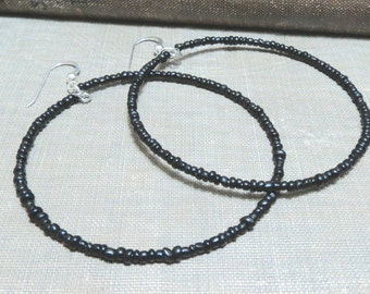 Beaded hoop earrings-black red or silver-seed beads-Large beaded hoops-beaded hoops-black hoops-black bead hoops-Seed bead hoops-black hoops