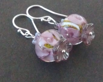 Small purple Lampwork Glass earrings
