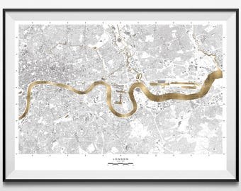 24 Carat Maps - London Edition | Limited Edition Print | Contemporary Maps | Real 24 Carat Gold Leaf