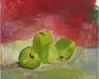 "QUINCE. Stil life OIL painting,   40 x 50x 2.2 cm,  15.5""x20""x0.9"", Original Painting Stretched  on Canvas. ."