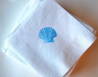 Seashell Beverage Napkins / Set of 50 / Perfect for Weddings or Baby Showers