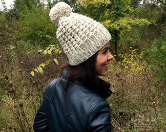 Hand Knit Hat Womens Chunky Pom Pom Slouch Hat - Wheat - MADE TO ORDER