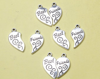 Best Friend Charms Antique Silver Tone BFF Charms necklace bracelet charms 11*18mm