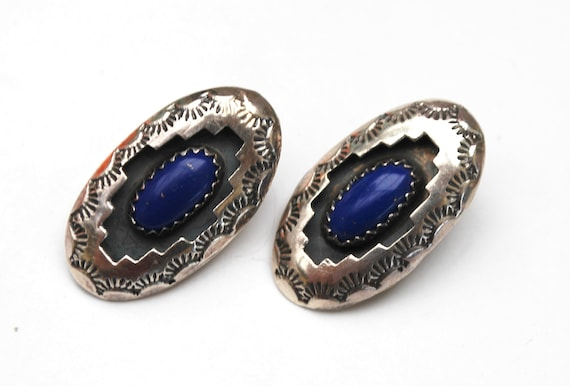 Lapis  Sterling  Earrings - tribal etched Shadow box - Blue gemstone i  - signed Sterling   Clip on  Earrings