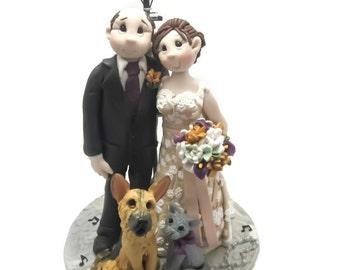Custom cake topper, Dog Lovers wedding cake topper, Bride and Groom cake topper, Mr and Mrs cake topper, personalized cake topper