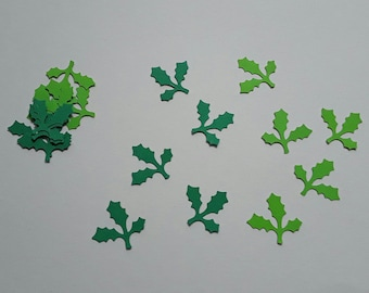 Set of 20 light green and green Holly leaf cutouts dark 2.5 cm