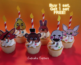 A Set of 10-12 Five Nights at Freddy's Party Cupcake Paper Toppers