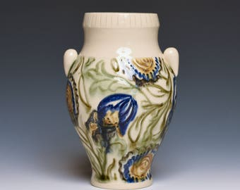 Blue Floral Handmade Pottery