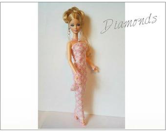 Barbie / Fashionistas Doll Clothes  Dress, hand-beaded Purse and Jewelry Set - Handmade Fashion by dolls4emma