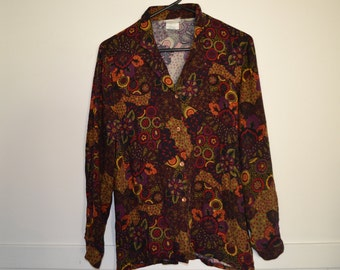 VINTAGE 90's Long sleeve shirt Button down Size 10 Made in Australia Retro Abstract Floral print