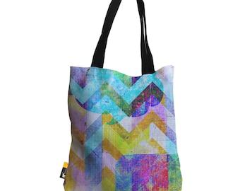 "Artist Designed Tote Bag - 18"" Inch Hip Multi-Color Abstract Beach Bag | Avant Garde  |  UBU Republic"