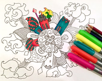 Mandala Adult Coloring Page Village Doodle Original Art Kids Fun Design