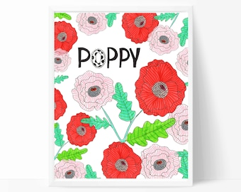 Poppies Art Print - Red Poppy Flowers - Home Decor Wall Art - Nursery Wall Art - 8x10