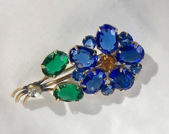 1930's brass and sparkling blue green Czech glass flower pin/brooch Signed Tomeco Slovaquie