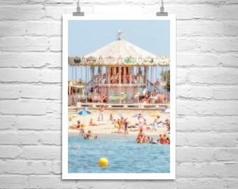 Beach Carousel Picture, France Beach Photography, Merry Go Round, Carousel Art, Seaside Carousel Photograph, France Photograph, France Gift