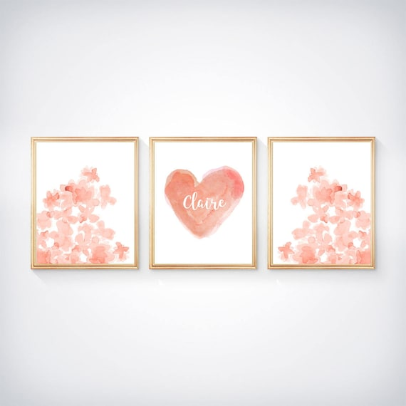 Coral Girls Prints, Set of 3- 8x10 Watercolor Hearts and Flowers