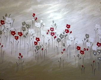 """Naomi Crowther painting """"Wild Poppies at Sunrise"""" Elegant thick petals on latte and white background 90x120cm"""