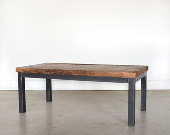 "Reclaimed Wood Post Leg Coffee Table with 2"" Thick Top"