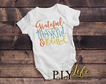 Baby |  Grateful Thankful and Blessed Thanksgiving Fall Baby Bodysuit DTG Printing on Demand
