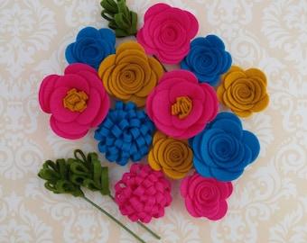 Handmade Wool Felt Flowers, Mustard, Azure, and Fuchsia