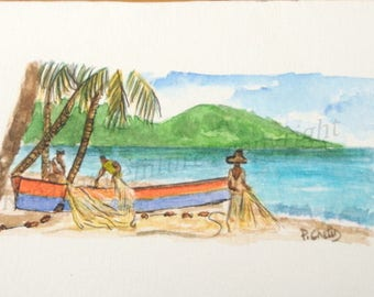 watercolor handles from Arlets Martinique-card-watercolor-watercolor miniature@kreapat fishing Scene